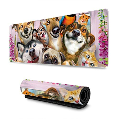 Funny Husky Dogs Gaming Mouse Pad, Long Extended XL Mousepad Desk Pad, Large Non Slip Rubber Mice Pads Stitched Edges, 31.5'' X 11.8''