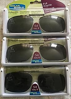 3 Solar Shield Clip-on Polarized Sunglasses Size 54 rec 1 Black Full Frame New
