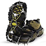 Unigear Ice Traction Cleats, Crampons Snow Cleats for Walking, Jogging, Climbing and Hiking (Black, Medium)