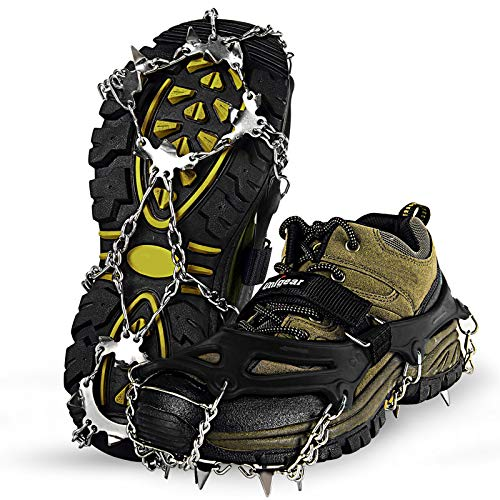 Unigear Ice Traction Cleats Crampons Snow Cleats for Walking Jogging Climbing and Hiking Black Large