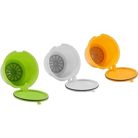 FreeLeben Capsules de Café Rechargeables, 3pcs Filtre à Café Universel Réutilisable de Machine de Dolce Gusto Sans BPA, avec la Cuillère et la Brosse