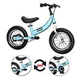 Qiani Balance Bike 2 in 1 for Toddlers,Kids 2 3 4 5 6 7 Years Old,Balance to Pedals Bike,12 14 16 inch Kids Bike,with Pedal kit,Training Wheels,Brakes(Blue,12inch)