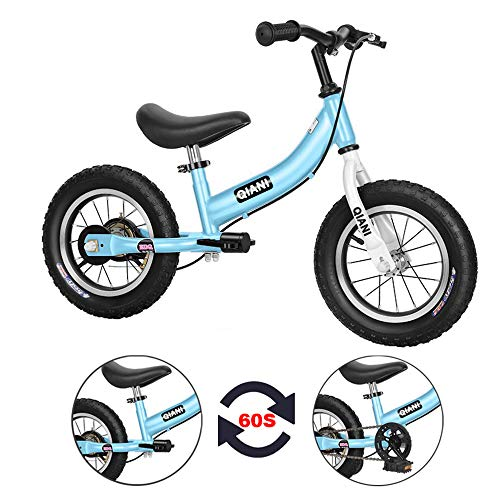 Qiani Balance Bike 2 in 1 for Toddlers,Kids 2 3 4 5 6 7 Years Old,Balance to Pedals Bike,12 14 16 inch Kids Bike,with Pedal kit,Training Wheels,Brakes(Blue, 16inch)
