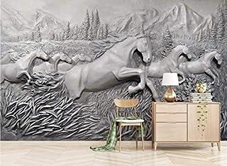 Papel pintado de encargo Moda moderna en relieve ocho caballos ilustración Fondo de pantalla, 400 * 280 cm