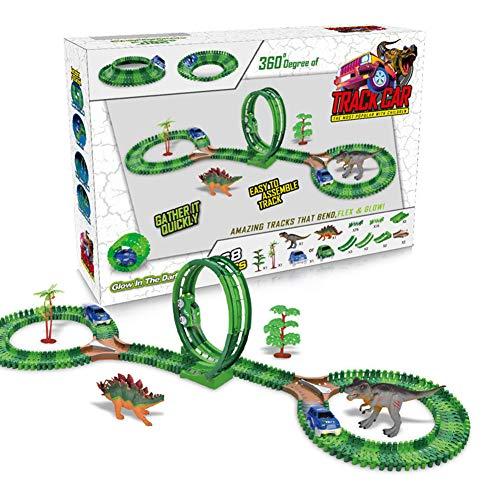LIAWEI Dinosaurio pista coche juguete conjunto ferrocarril pista coche carreras juego juguete 163pcs tren pista pista pista juguete con 2* dinosaurio/2* árbol/1* coche regalo para niño niña
