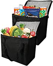 2 Insulated Reusable Grocery Bag with Zippered Top, XL, Large, Frozen Foods Cold, Cooler Shopping Accessories, Insullated Bags Black
