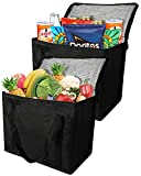 2 Insulated Reusable Grocery Bag with Zippered Top, XL, Large, Frozen Foods Cold, Cooler Shopping Accessories, Insullated Bags, Black