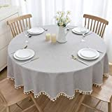 U-KIME Round Tablecloth Solid Color Cotton Linen Texture Stitching Tassel Lace Table Cover, Machine Washable, Dia 70in/180cm, Light Grey