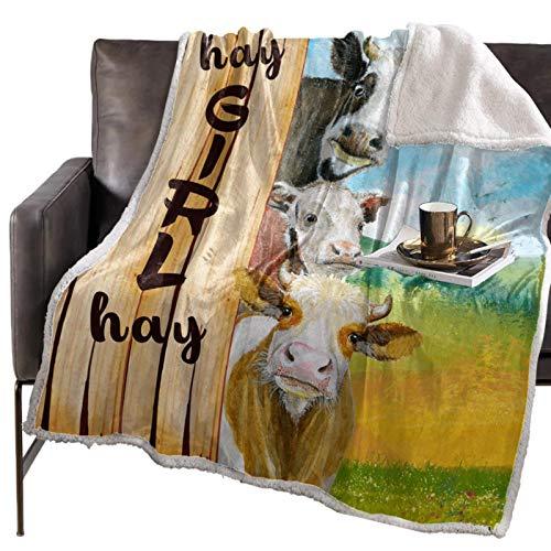 3D Throw Blanket Hay Girl Hay Farm Kuh Tagesdecke Kinder & Erwachsene Fleece Throw Cover Wrap Personalisierte Dicke, 125x150CM