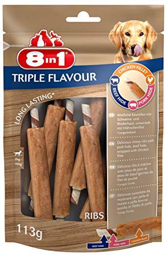 8in1 Triple Flavour Ribs Kausnack 6 Stück umwickelt mit Hähnchenfilet, 1-er Pack (113 g)