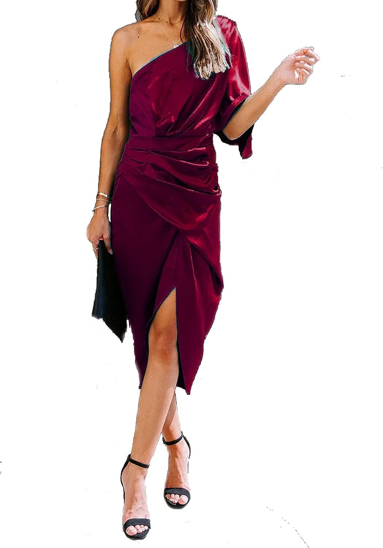 Ladmous Women's Off Shoulder Bat Sleeve Party Dress Club Ruched Bodycon Mini Dress