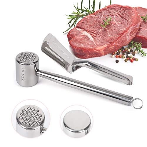 XREXS Fleischklopfer und Küchenzangen Set aus Edelstahl - Fleischhammer Zweiseitiger und Einteilige Grillzange, Zange Küche für Familiengrill, Fleischklopfer für Rindfleisch und Hähnchenbrust