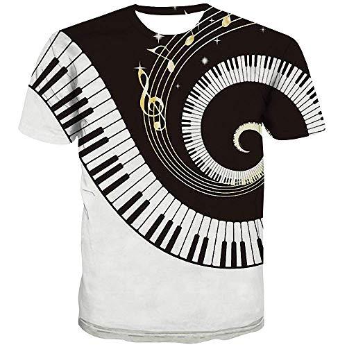 QCIV Piano T Shirts for Men 3D Printed Psychedelic Music Player Keyboard Shirt (S, Piano T Shirts)