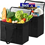 2 Insulated Grocery Bags XL Reusable, Sturdy Zipper, Stands Upright, Heavy Duty, Foldable, Washable,...