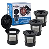 Party Bargains 4 Reusable K-Cups Filter - for Keurig 1.0 Brewers, Eco-Friendly Universal Fit Refillable Single Cup Coffee Filters, Stainless steel Mesh Filter, Black
