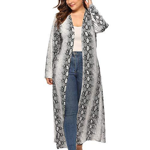 Baugger Frauen Outwear, Plus Size Schlangenhaut Print Cardigan vorne offen Longline