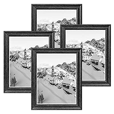 NUOLAN 8x10 Picture Frame Farmhouse Black Wood Pattern Photo Frames for Wall or Desk Display, 4 Packs(NL002-8X10-DG)