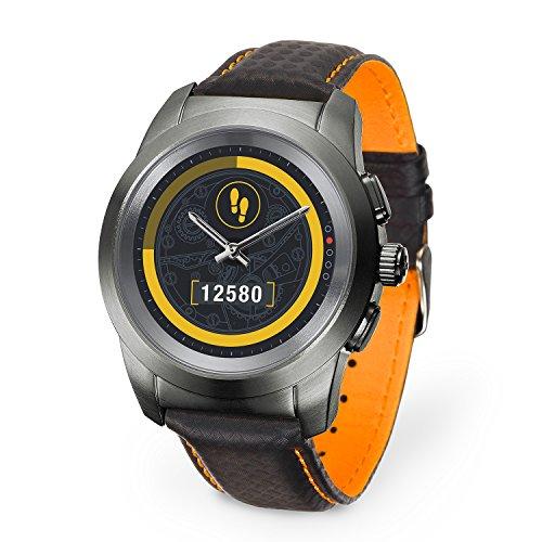 MyKronoz ZeTime Premium hybride Smartwatch 44mm mit mechanischen Zeigern über einen runden Farbtouchscreen – Regular Matt Titanium / Schwarz Carbon Orange Ziernaht