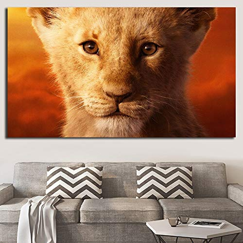 wZUN Película león Cartel Pintura para la Familia Animales Pintura Arte Arte de la Pared Trabajo Pintura Sala de Estar decoración de la Pared Cartel 60x120 Sin Marco