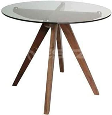 New Amelia Collection Round Glass Dining Table - 90cm - Walnut