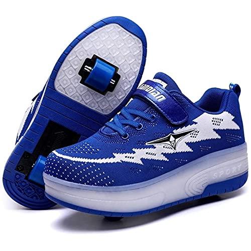Unisex Led Luz Automática de Skate Zapatillas con Ruedas Zapatos Patines Deportes Zapatos USB Carga, para Niños Niñas (Color : Blue, Size : 37 EU)