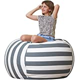 Aubliss Stuffed Animal Storage Bean Bag Chair Cover Only for Plush Toys, Blankets, X-Large 48'-Canvas Stripes Grey