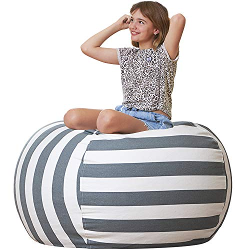 Aubliss Stuffed Animal Storage Bean Bag Chair Cover Only for Plush Toys Blankets XLarge 48quotCanvas Stripes Grey