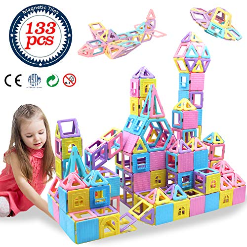 HLAOLA Magnetic Blocks 133PCS Upgrade Magnetic Building Blocks Magnetic Tiles Educational Toys Tiles Set for kids Magnet Stacking Toys for Kids...