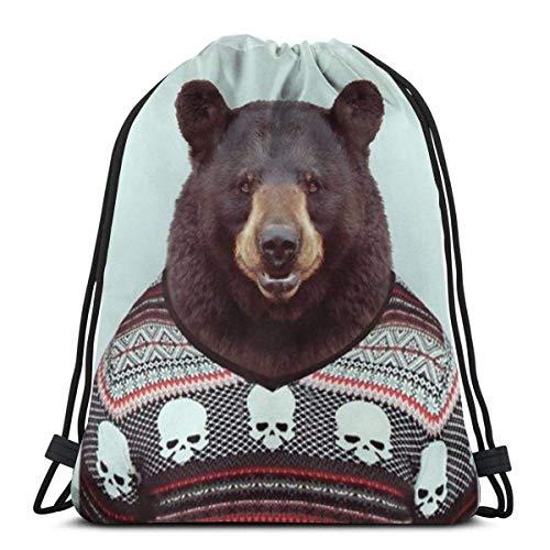 Mochila con Cordón,Bolsas De Cuerdas Gimnasio,Bear Sir Mens Womens Athletic Premium Quality Pull String Bag para Viajar Yoga Shopping School Workout Beach