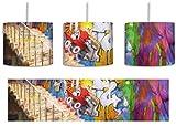 Coloured Streetart Graffiti Pinsel Effekt inkl. Lampenfassung E27, Lampe mit Motivdruck, Deckenlampe, Hängelampe, Pendelleuchte - Durchmesser 30cm - Dekoration mit Licht