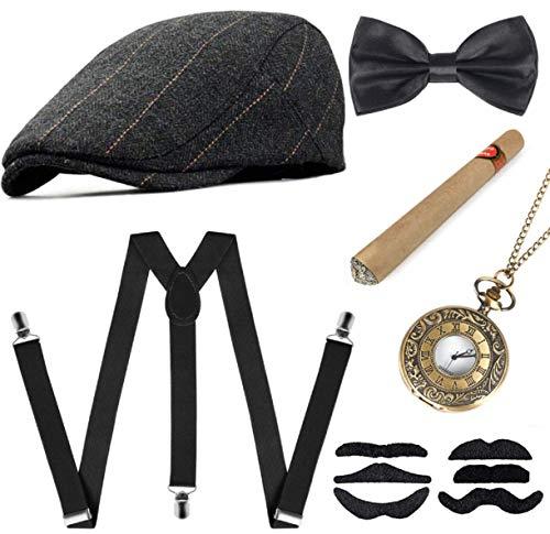 Sinoeem 1920s Herren Accessoires Inklusive Panama Gangster Hut Verstellbar Elastisch Hosenträger Herren Halsschleife Fliege Taschenuhr und Plastik Zigarre (Barett-Gray-07)