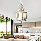 Lámpara de araña de madera con perla de madera, estilo rústico, redonda, E14,...