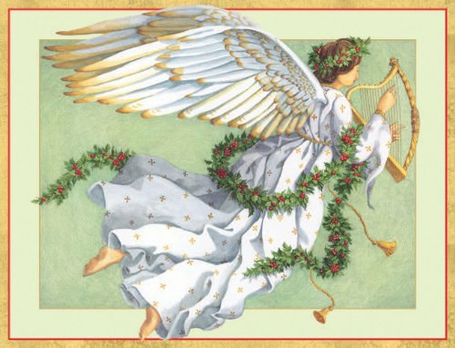 Entertaining with Caspari Angel with Harp Christmas Cards with Unlined Envelopes, Box of 16