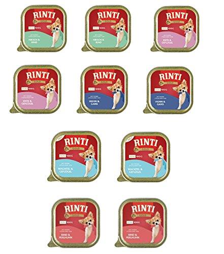 Finnern - Rinti Gold Mini 100g Schalen 5 Sorten zur Auswahl Hirsch-Rind, Wachtel-Geflügel, Rind-Perlhuhn, Ente-Geflügel, Huhn-Gans Ges.10St. (9,95 €/kg)