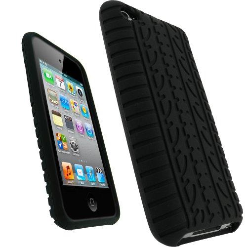 iGadgitz U0672 Nero Pneumatico Custodia Silicone Skin Case Cover Protezione Compatibile con iPod Touch 4th Generation 4G + Protettore Schermo