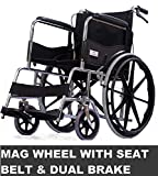 FASTWELL Folding Wheelchair With Dual Brake & Safty Belt (MAG WHEEL)
