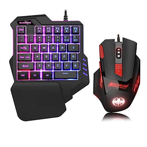 【令和最新版】片手ゲーミング キーボード マウス セット 片手ゲーミングキーボード RGB ゲーミングマウス 最大6800DPI 光学式 USB有線 Xbox One、スイッチ、PS3、PC用