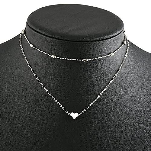 Multi - Capa - Collar con Amantes Gargantilla para Mujer y niñas Clavícula Multilayer Love Trailer, Collar de Novia