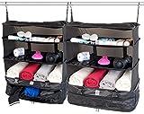 Xcase Regaltasche: 2er-Set XXL-Koffer-Organizer, Packwürfel zum Aufhängen, 45 x 64 x 30cm (Kleiderbeutel)