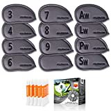 7. Golfinator PU Leather Golf Iron Head Covers - 12 Pcs Set 25 Tees - Headcovers Have Numbers on Both Sides - Ebook : 30 Drills That Will Improve Your Game (Gray)