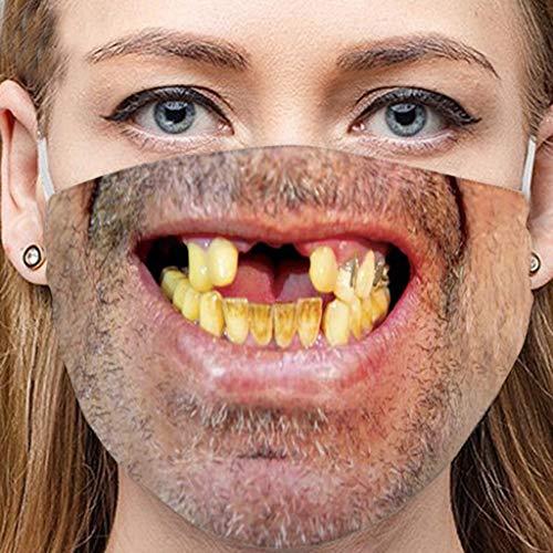 1 Stück, Lustig, Zähne, Ausdruck, Druck, Waschbar, Halloween, Mun