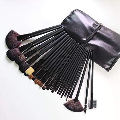 Lot de 24 pinceaux de maquillage, poils doux et confortables avec manche en bois durable et sac de rangement portable, noir