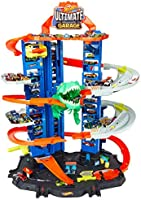 Hot Wheels City Robo T-Rex Ultimate Garage Multi-Level Multi-Play Mode Stores 100 Plus 1:64 Scale Cars Gift idea for...