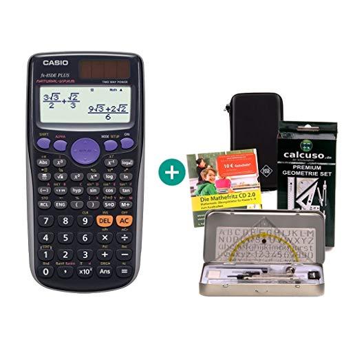 Casio FX-85DE Plus + Schutztasche + Geometrie-Set + Lern-CD (auf Deutsch)