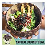 GAXQFEI Pasta Bowl Coconut Shell Fruit Ensalada Cuenco de Arroz 400 Ml Capacidad Natural Coco Pulido Pulido Smooth Health Anti-Scalding Crafts Decoración Accesorios de Cocina,Marrón