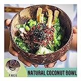 Zixin Ensalada de Pasta Bowl cáscara de Coco Fruta Plato de Arroz 400ml Capacidad Natural de Coco Mano Pulida Salud Anti-escaldar Crafts Decoración Accesorios de Cocina (Color: marrón, tamaño: 50)