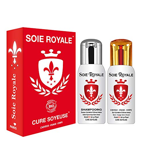 Seda Royal Cure Soyeuse Bio Proteínas de seda 125 extractos de plantas bio, flor de Lis Royal + Champú 125 ml Ácido hialurónico Natural Antienvejecimiento para cabello, rostro y cuerpo - Sin alcohol -