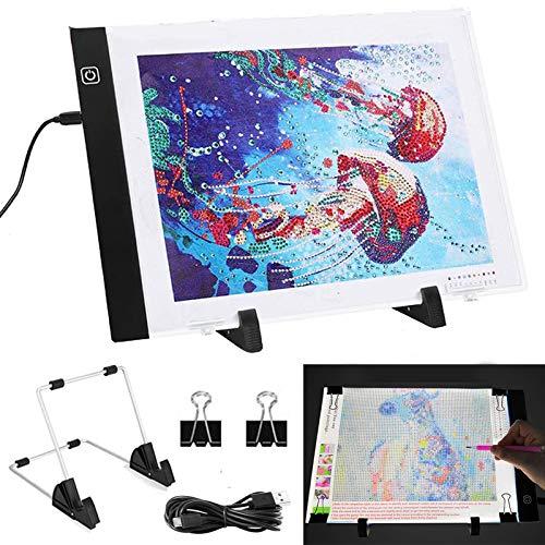 Mesa de Luz Dibujo A4, LED Tableta de Luz para de Brillo Ajustable de 3 Niveles, Accesorios Mesa de Luz para 5d Pintura Diamantes con Soporte Extraíble y Cable USB, Ideal para Diseñar, Dibujar Niños