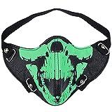 Aieoe Leder Gesichtsmaske Totenkopf Pattern Maske für Motorradfahren, Radsport, Halloween, Karneval - Noctilucence Grün