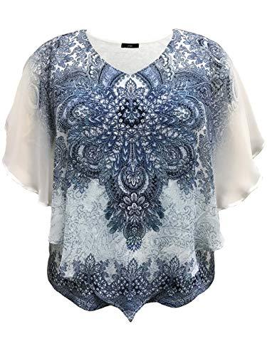 LEEBE Damen Große Größen - Doppelschicht Chiffon Poncho Bluse (DE 46-64) (1X (DE 46-48), Blau Paisley)